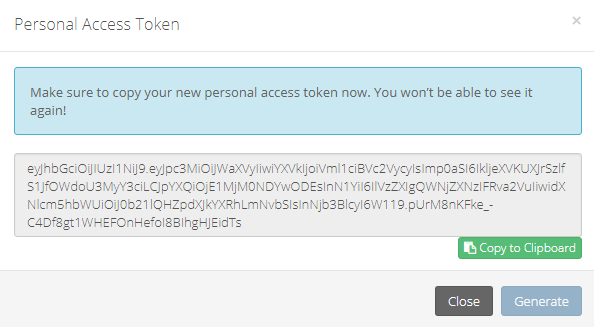 Personal Access Token Details
