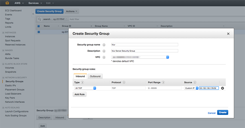 amazon redshift security group